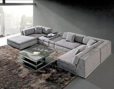 Lusso Horizon Modern Grey Fabric Leather Sectional Sofa Living Room Designs India Marks And Cohen Hayden 8-piece Modular ...
