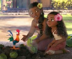 Moana, her mom Sina, and her rooster Heihei