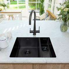 Stainless Steel Sinks available in the UK from Caple Wine Chiller, Sink Taps, Wine Cabinets, Stainless Steel Sinks, Plumbing, Kitchen, Color, Home Decor, Cooking