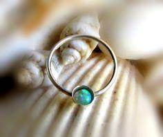 Green Opal Septum Ring Opal Nose Ring Septum by LarryJewelryShop