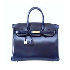 6f26736a4325 1stdibs   HERMES BIRKIN 35 Bag BLEU (blue) MARINE coveted rare Box Leather  Hermes