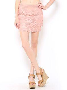 #Coral Crochet Mini #Skirt