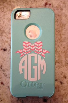 Chevron Bow Cell Phone Monogram Decal by CuttinCrazy on Etsy, $5.00