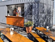 Suppenküche. Love this industrial chic style - and the outdoor seating!