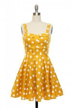 Pin-Up Polka Dots Dress in Yellow on Wanelo