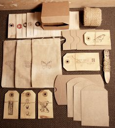 Packaging Kit  - botanical prints and stamps on brown kraft paper by AnnabelGray on Etsy