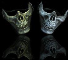 Cs скелет Warrior защитное маска тушь хэллоуин костюм половина лицо череп удавка реалистичные силикон маскарадные маски(China (Mainland))