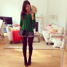 Tights and shorts, green sweater, fall fashion outfit
