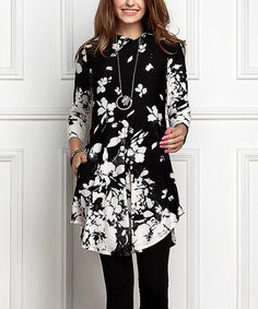 Look what I found on #zulily! Black & White Floral Shawl Collar Button Tunic Dress - Plus Too #zulilyfinds