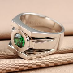 High Quality Classic Solid 925 Sterling Silver Emerald Green Lantern Rings For Men Chritmas Gift Free Shipping Free Engraving $49.99