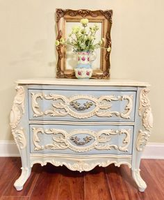 Vintage Ornate Night Table, Hand Painted Furniture, Bedroom Furniture,  Romantic Style Furniture By