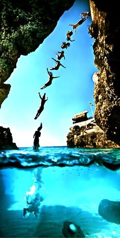 cliff jump i have done this but at a place this pretty
