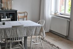 Blogger Katrin's beautiful dining room complete with Urbanara rug. So bright and homely.