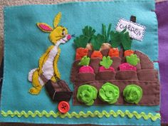 Rabbit needs help in his garden. Onions, carrots and radishes are in the pockets and cabbages stick with Velcro