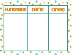 Place Value Mats {FREEBIE} Can use straws in bundles of 100, 10's and ones