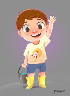 Theo on Behance - Art: lineless illustration - Boy Cartoon Drawing, Drawing Cartoon Characters, Cartoon Kids, Cartoon Art, Texture Illustration, Children's Book Illustration, Character Illustration, Monster Illustration, Kid Character