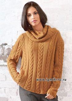 Women's Hand Knit Cowl Neck Sweater 32H