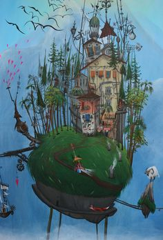 Magic illustration inspired by Verbania-Italy. Painted by acrylics on canvas by Surrealism, Italy, Photo And Video, Canvas, Architecture, World, Acrylics, Illustration, Crafts