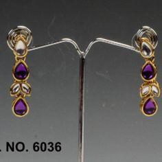 Purple Color Designer Earrings By Swarajshop