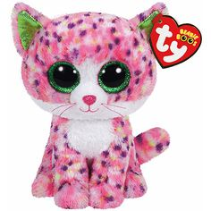 a7bb3e3d907 TY Beanie Boo Sophie Cat Pink Soft Toy with Organza Pull String Bag