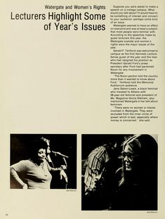 Spectrum Green yearbook, 1975. Jane Galvin-Lewis and Gloria Steinem visited campus on April 3, 1975 to speak on feminism. Angela Davis, Catherine Graham, and Bernadette Devlin also came as speakers in 1975. :: Ohio University Archives