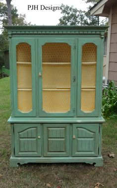 PJH Designs Hand Painted Antique Furniture: Vintage Hutch To Green Jelly Style Cabinet