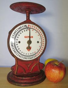 #LGLimitlessDesign & #Contest Antique Ginge Kitchen Scale Cast Iron Porcelain Face Spring Design 10 Kilo / 20 lbs