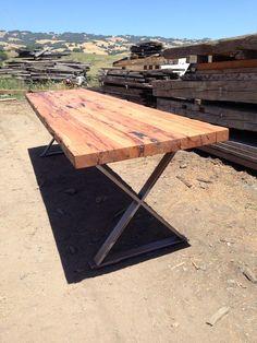 cross leg metal and wood table - Google Search