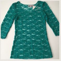 Green Young Essence Lace 3/4 Sleeve Top FINAL REDUCTION - PRICE FIRM. Green/teal lace top by Young Essence. Item is completely lace and see-through, so you'll have to wear something under it (probably a camisole). Super cute, beautiful color! NWT. Young Essence Tops Blouses