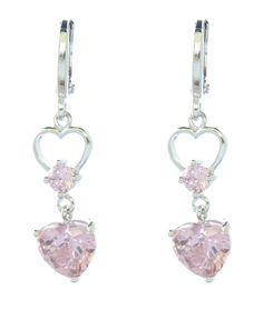 08-03189  Christmas Gifts Pink CZ Dangling Heart Chandelier Earrings Rhodium Plated,  These fabulous pink heart chandelier earrings are made of Rhodium plated silver. Dazzling heart shaped bright pink CZ center stones surrounded by  cubic zirconias give these pink heart drop earrings a stunning look. The shimmering pink CZ hearts on these silver heart earrings dangle from a CZ encrusted open circle and heart adding even more sparkle to these CZ drop earrings. Rhodium plating prevents tarnish…