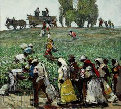 """""""The Cotton Pickers"""" by Millard Sheets, 1929, Oil on canvas, 36"""" x 32"""", California Scene Museum of Art"""