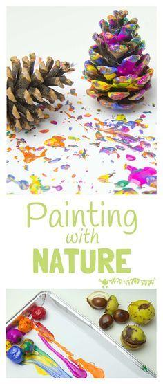 Thema herfst - knutselidee - schilderen met materiaal uit de natuur