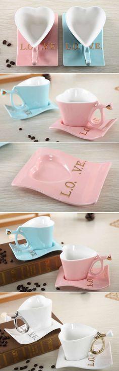 Ceramic Heart-Shaped Coffee Mug with Saucer