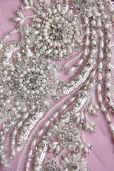 Embellishment Details Beaded Wedding Gown Applique by allysonjames Tambour Beading, Tambour Embroidery, Couture Embroidery, Embroidery Dress, Embroidery Patterns, Hand Embroidery, Bordados Tambour, Beaded Wedding Gowns, Lesage