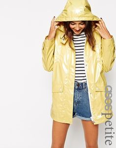 ASOS PETITE High Shine Rain Trench
