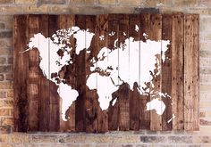 World Map Wood Reclaimed Pallet Boards by SalterCreekDesigns