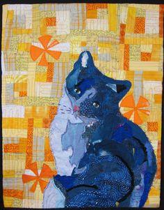 Threaded Cat Blues by Rita Hannafin.  Art quilt.  SAQA - Connecticut.
