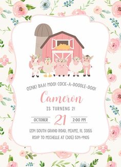Zenón farm party for a girl 2nd Birthday Party For Girl, Farm Animal Birthday, Girl 2nd Birthday, Farm Birthday, Farm Party Invitations, Printable Birthday Invitations, Party Fiesta, Pink, Birthdays