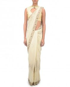 Ivory Sari with Lucknowi Embroidery