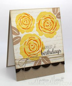 Contemporary Roses, MFT,  in Daffodil Delight & Pumpkin Pie, leaves in Crumb Cake, Defining Words (Wplus9)