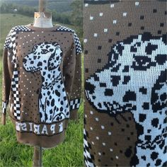 Items similar to REDUCED SALE Vintage jumper sweater graphic pixel pixelated puppy dog Dalmatian knit knitted checkers chess M medium woman's ladies on Etsy Ugly Sweater, Sweaters, Vintage Jumper, Lost Art, Kitsch, Trending Outfits, Unique Jewelry, Handmade Gifts, Etsy