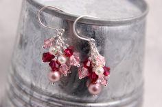 Pink Swarovski Cluster Earrings Bubble Gum by RocksMapsandCrafts, $23.00