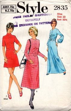 1970s Style 2835 A line Dress Vintage Sewing Pattern Size 10 Bust 32 1/2 inches UNCUT Factory Folded