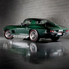 """1967 Corvette  """"Sting Ray"""" in Goodwood Green. This is my dream car, color and all."""