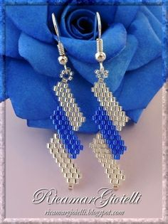 Schema for easy brick stitch diagonal earrings  ~ Seed Bead Tutorials
