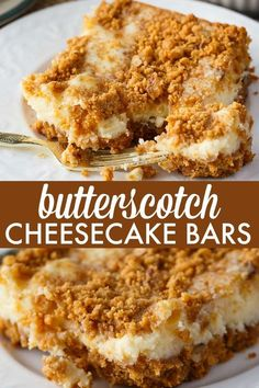 These Butterscotch Cheesecake Bars are pure dessert heaven! This cheesecake has a rich butterscotch base, smooth, creamy cheesecake filling and topped with some butterscotch crunch. Dessert Simple, Bon Dessert, Dessert Bars, Cheesecake Bars, Cheesecake Recipes, Butterscotch Cheesecake Recipe, Butterscotch Bars, Easy Desserts, Dessert Recipes