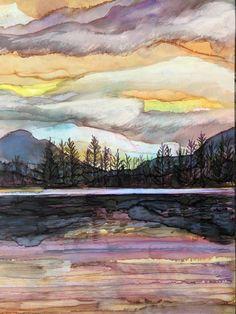 MaryElizabethArts - Lake Sunset Landscape Alcohol Ink Painting
