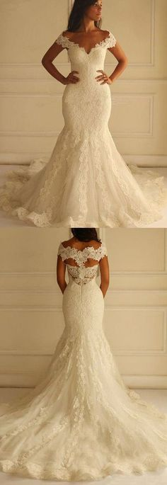 Mermaid/Trumpet Wedding Dresses, Ivory Wedding Dresses, Long Wedding Dresses, Long Ivory Wedding Dresses With Applique Sweep Train Off-the-Shoulder Sale Online Wedding Dress Train, Wedding Dresses 2018, Applique Wedding Dress, Perfect Wedding Dress, White Wedding Dresses, Wedding Dress Styles, Bridal Dresses, Homecoming Dresses, Event Dresses