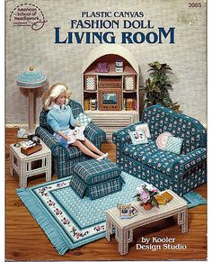 Fashion Doll Living Room in Plastic Canvas by grammysyarngarden, $12.00