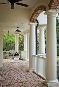 Would love to do the covered front porch of a white house in that brick! Maybe my house. Note they left the red brick flooring and contrast. Home Porch, House With Porch, House Exterior, Custom Homes, Porch Design, Brick Flooring, Exterior, Brick Porch, Building A Porch